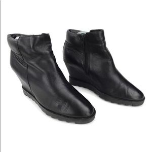 ASH Black leather wedge booties Sz 38